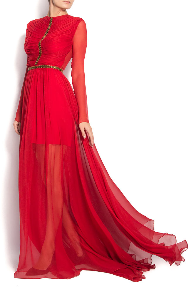 Red Cassidy Gown Silk dress with cut out back Manuri image 0