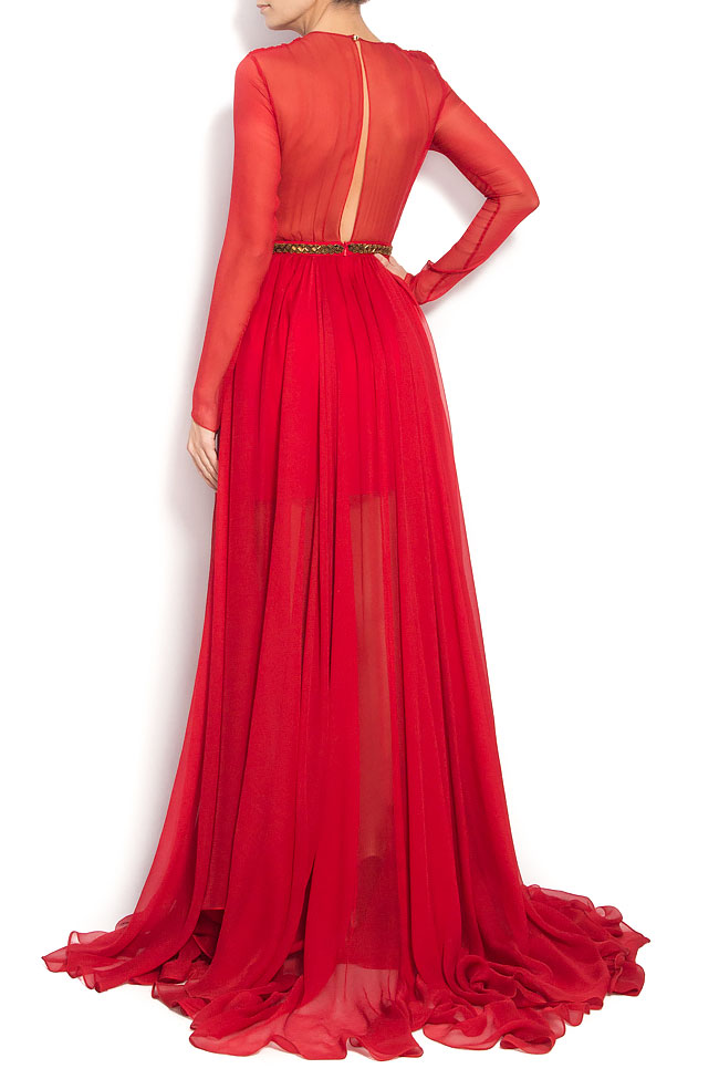 Red Cassidy Gown Silk dress with cut out back Manuri image 2