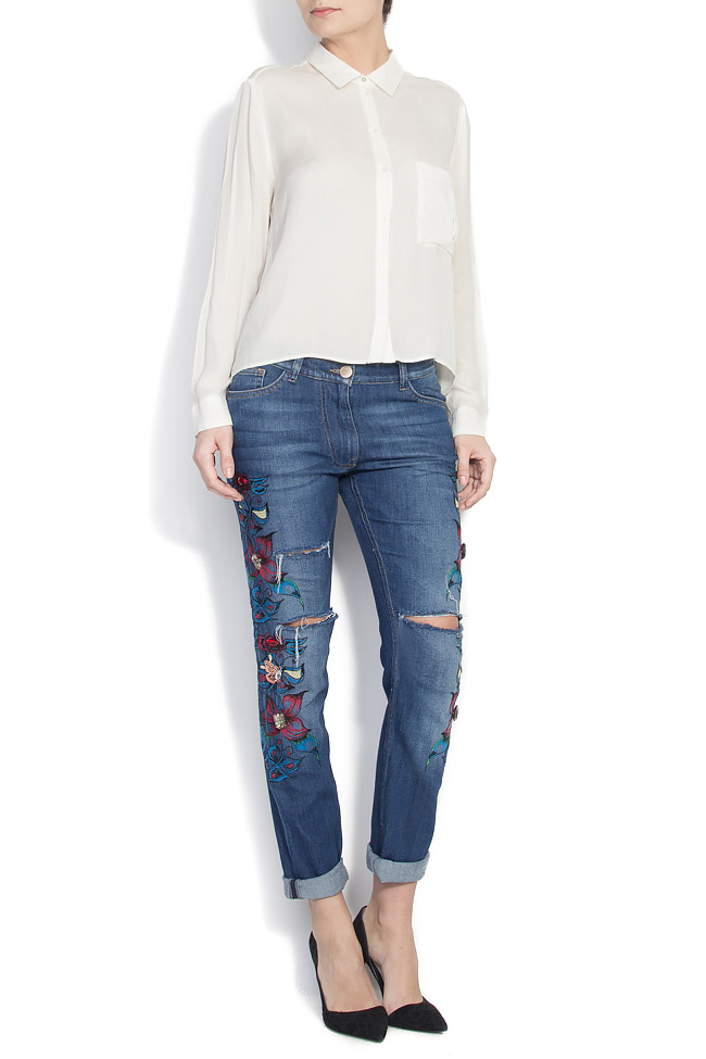 Embroidered denim pants Elena Perseil image 0