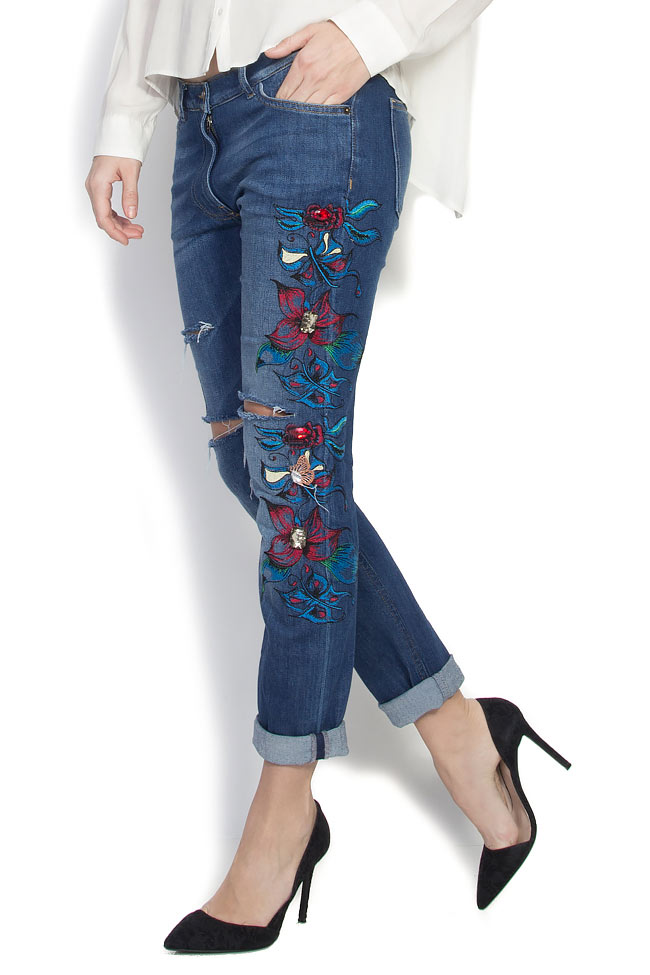 Embroidered denim pants Elena Perseil image 1