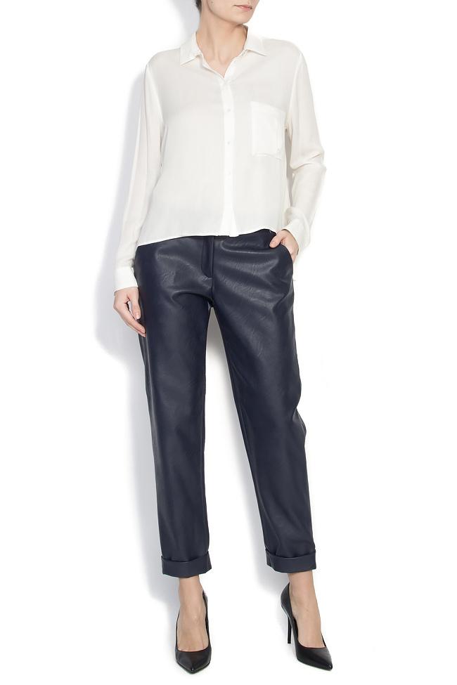 Pantaloni drepti din piele ecologica Lena Criveanu imagine 0