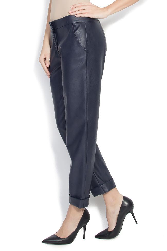 Pantaloni drepti din piele ecologica Lena Criveanu imagine 1