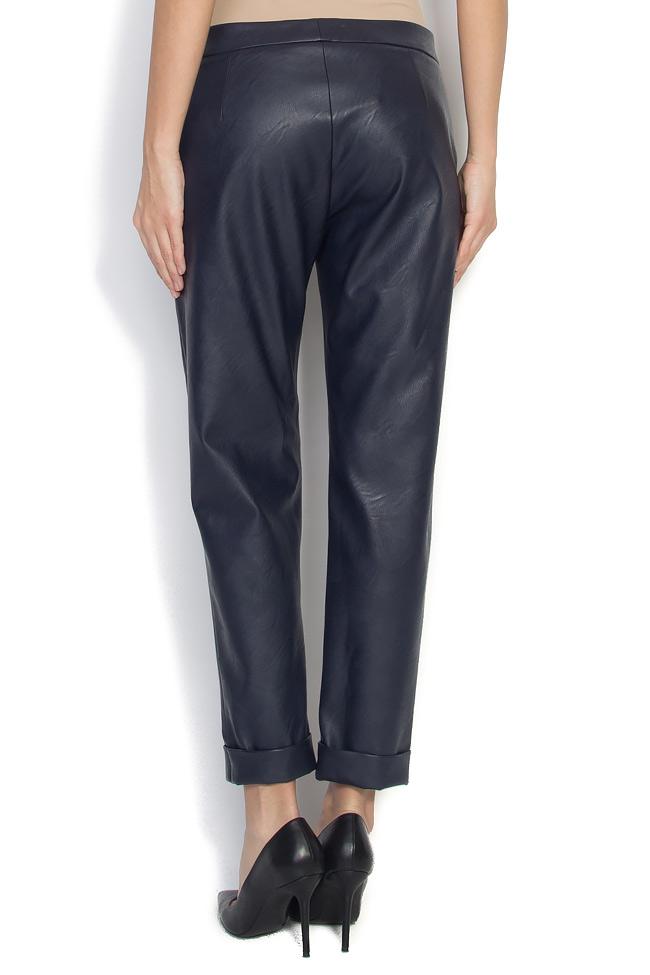 Pantaloni drepti din piele ecologica Lena Criveanu imagine 2