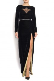Manuri Velvet gown with side slit VONNIE