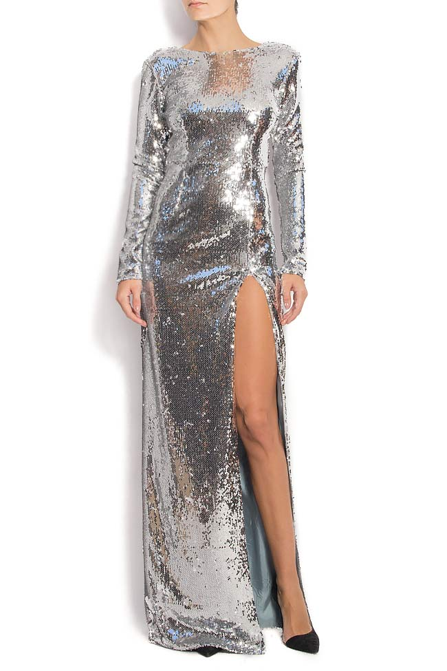 Open-back sequined gown with side slit KIM Manuri image 0