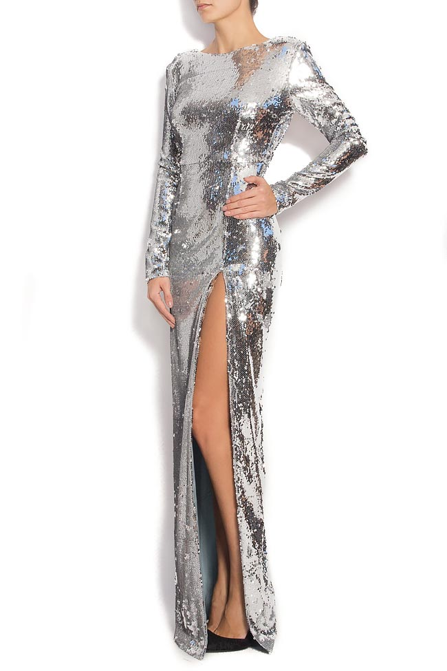 Open-back sequined gown with side slit KIM Manuri image 1