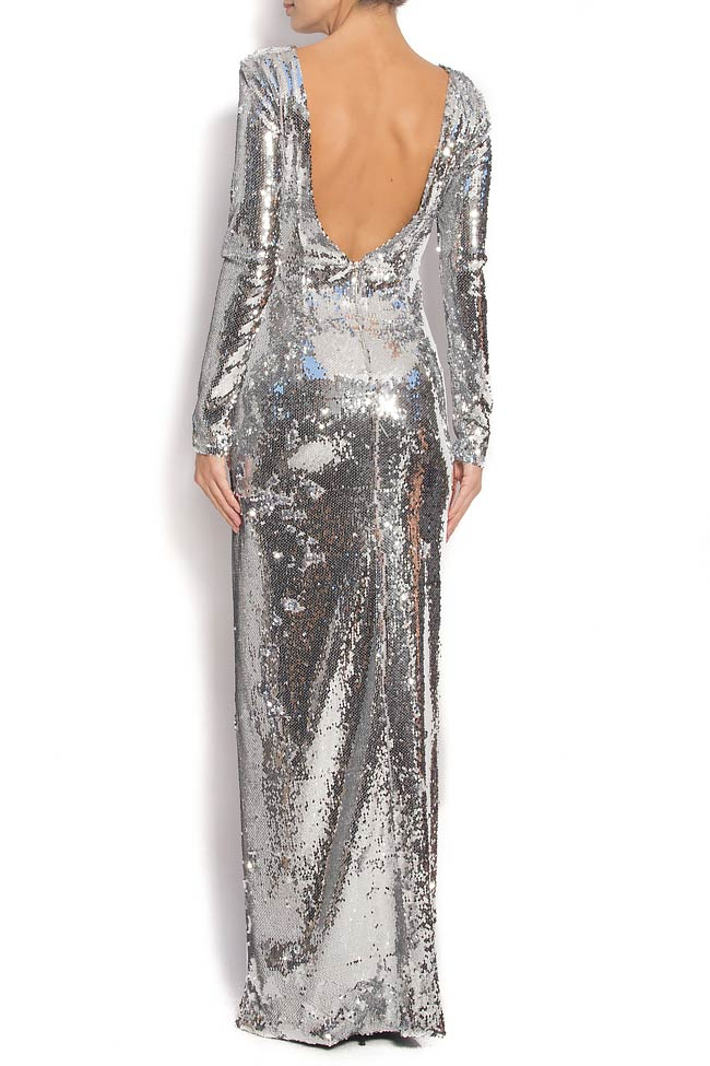 Open-back sequined gown with side slit KIM Manuri image 2
