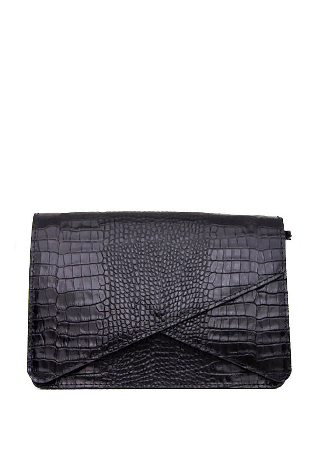 7416223290b3 Croc-effect leather clutch - Clutch Bags made to measure