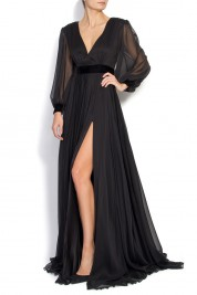 Cloche Pleated chiffon gown with velvet belt