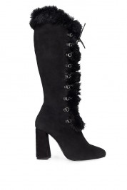 Ana Kaloni Fur leather ankle boots
