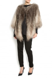 Studio Cabal Asymmetric faux-fur jacket with faux-leather insertions