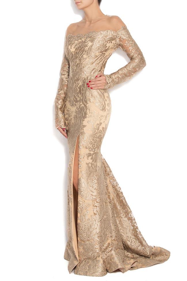 robe longue du soir en brocart au fil de soie robes longues robes sur mesure. Black Bedroom Furniture Sets. Home Design Ideas