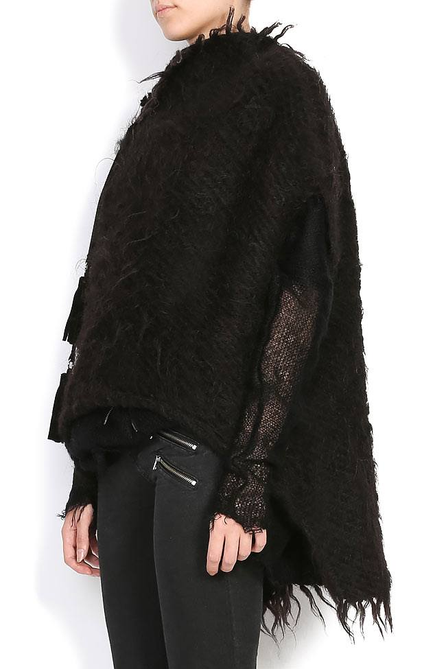 FLORICA leather tasseled sheep wool cape Nicoleta Obis image 1