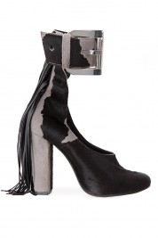 Zenon Pony fur and leather fringed shoes
