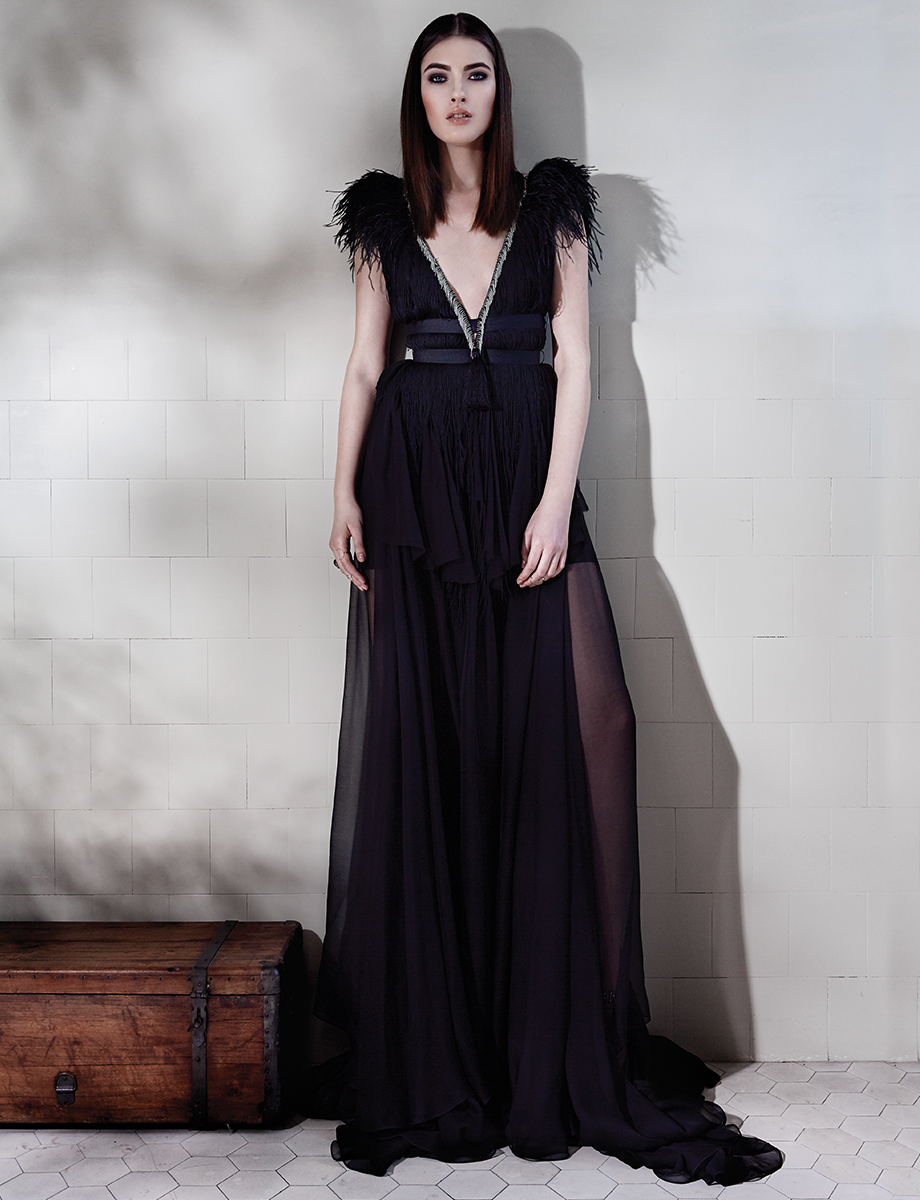DEBBY open-back silk gown with feathers and fringes Manuri image 4