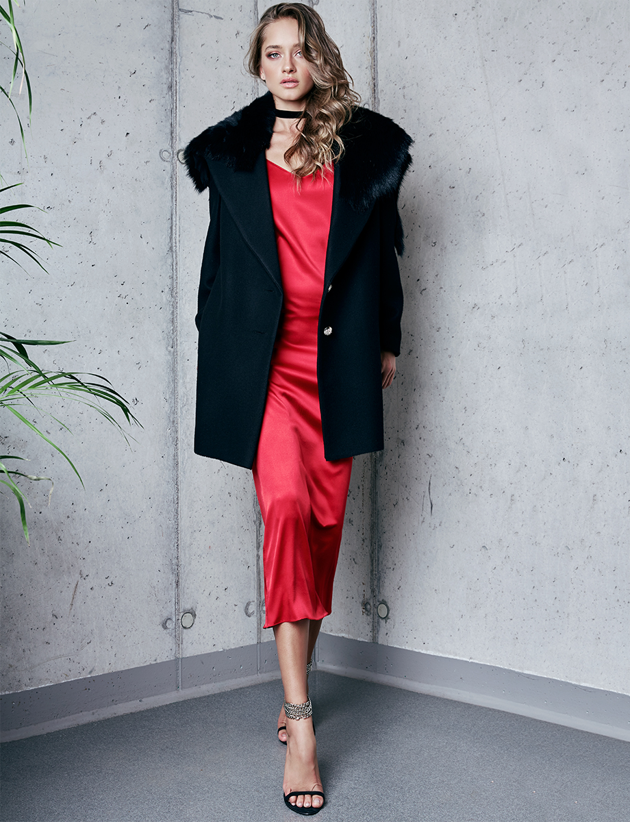NOMAD wool and cashmere blend coat with fur collar Manuri image 5