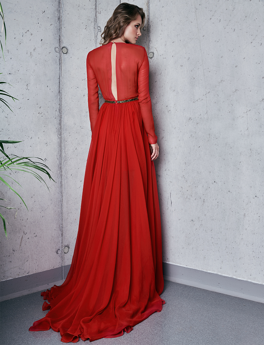 Red Cassidy Gown Silk dress with cut out back Manuri image 4