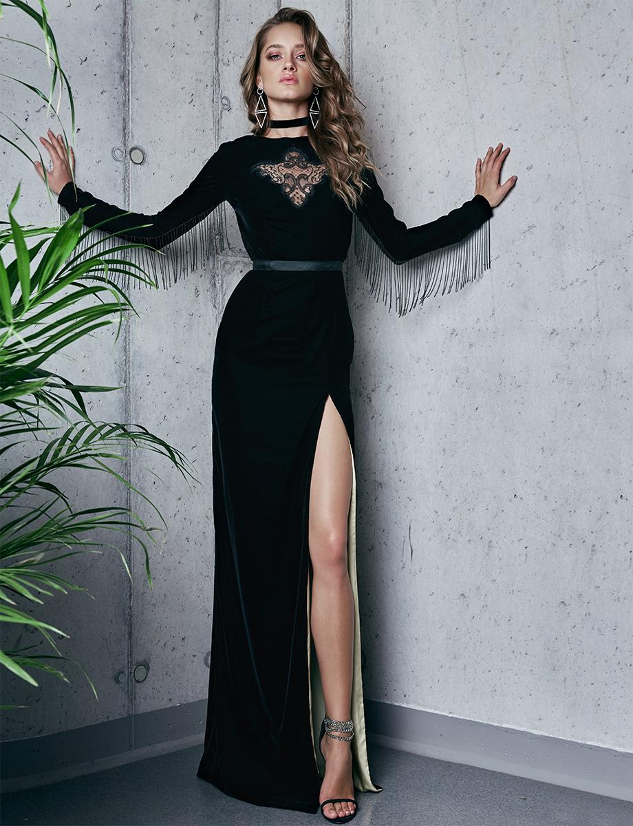 Velvet gown with side slit VONNIE Manuri image 4