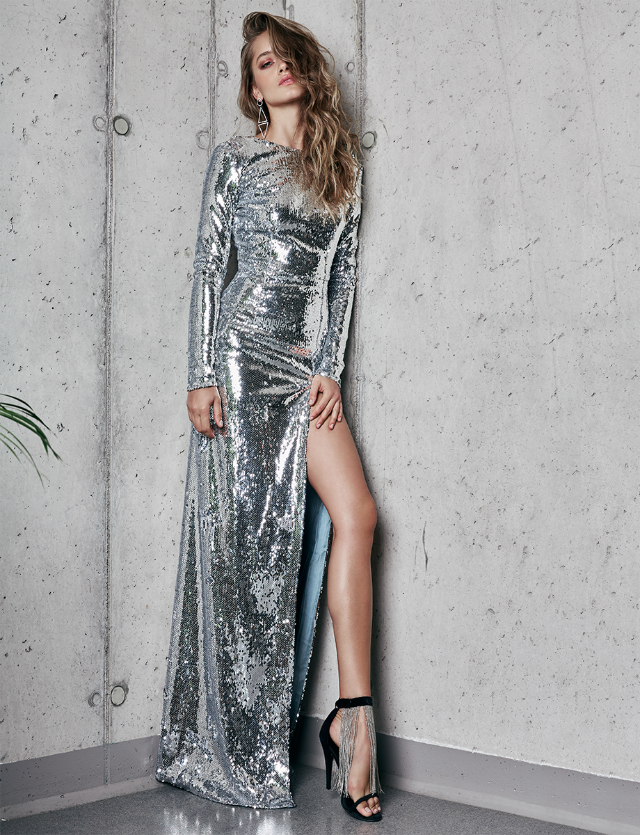 Open-back sequined gown with side slit KIM Manuri image 4
