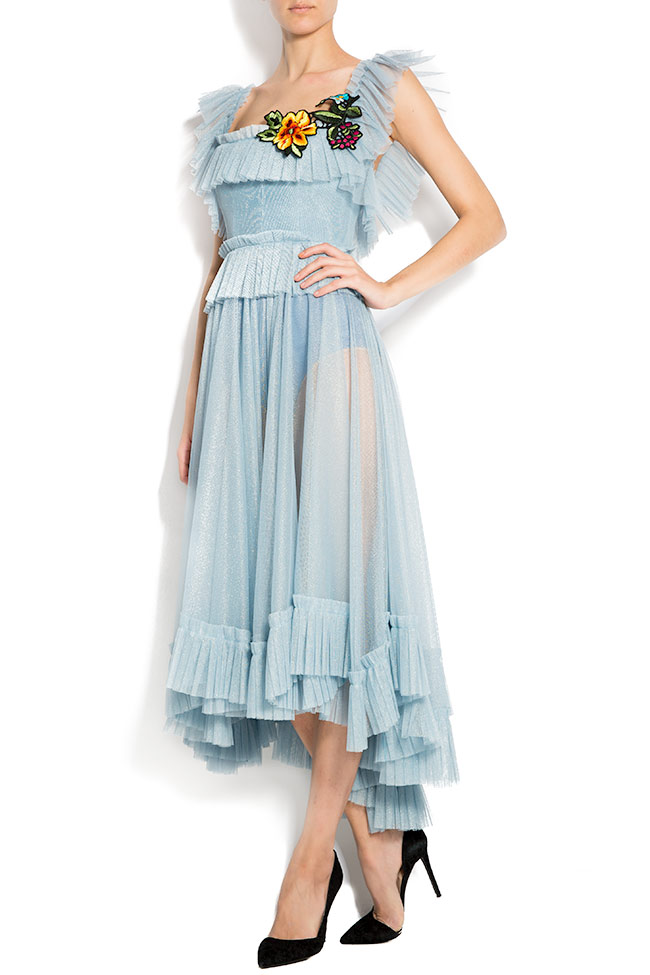 Open-back asymmetric embroidered tulle dress Rozalia Bot image 1