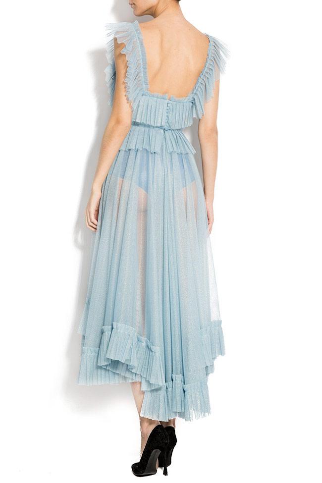 Open-back asymmetric embroidered tulle dress Rozalia Bot image 2