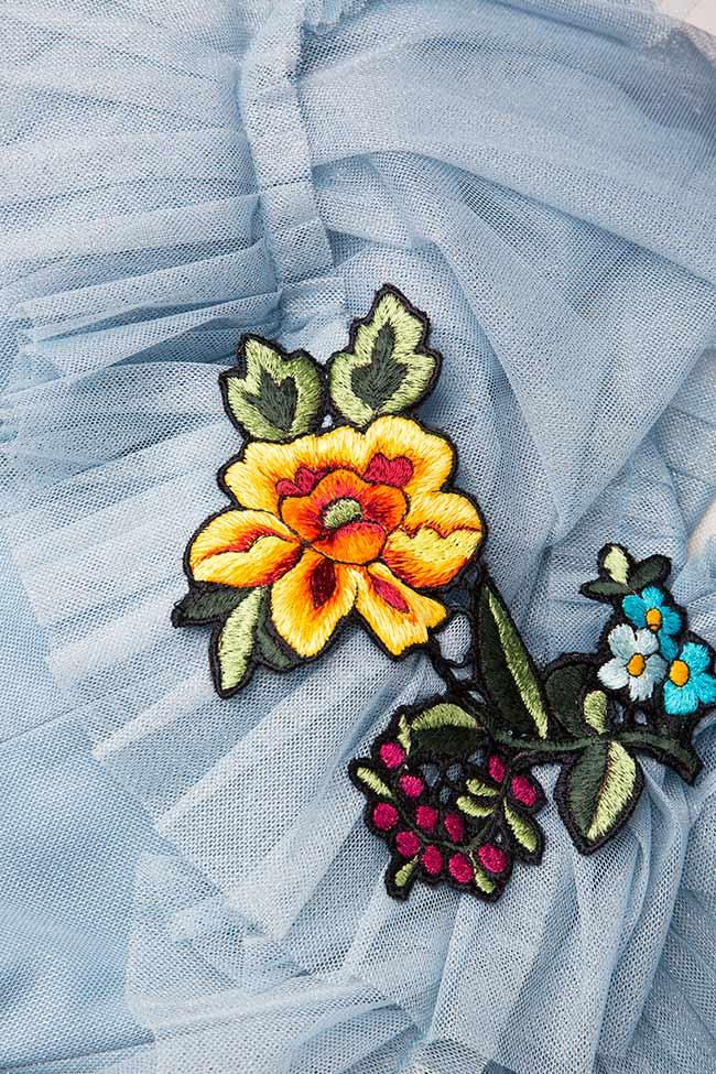 Open-back asymmetric embroidered tulle dress Rozalia Bot image 3