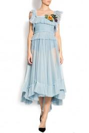 Rozalia Bot Open-back asymmetric embroidered tulle dress