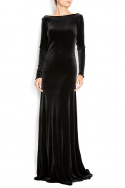 Cloche Open-back silk-velvet gown