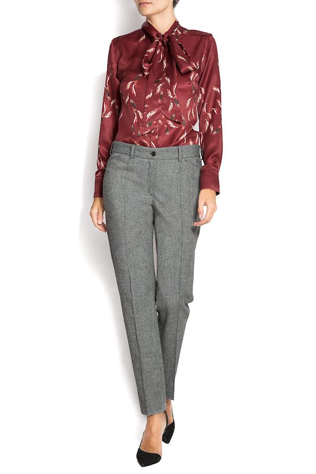Pantaloni din stofa de lana cu buzunare Lena Criveanu imagine 0