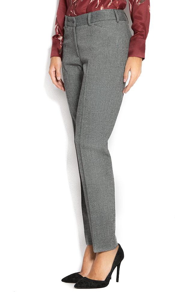 Pantaloni din stofa de lana cu buzunare Lena Criveanu imagine 1