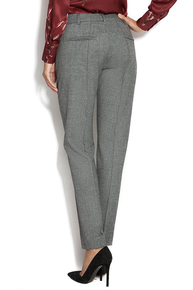 Pantaloni din stofa de lana cu buzunare Lena Criveanu imagine 2