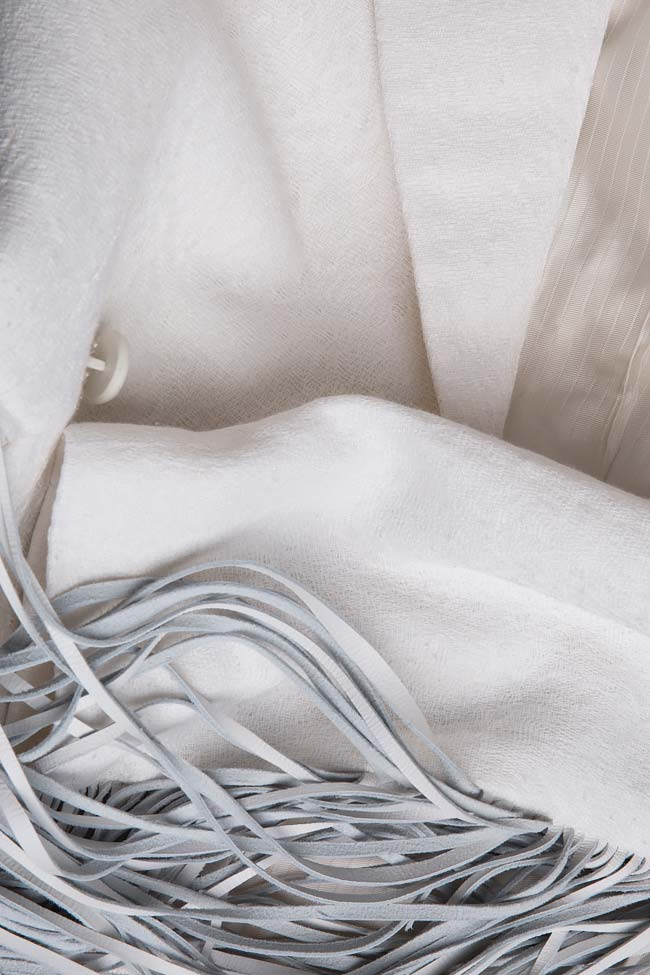 Sacou din stofa de bumbac cu franjuri din piele Zenon imagine 3