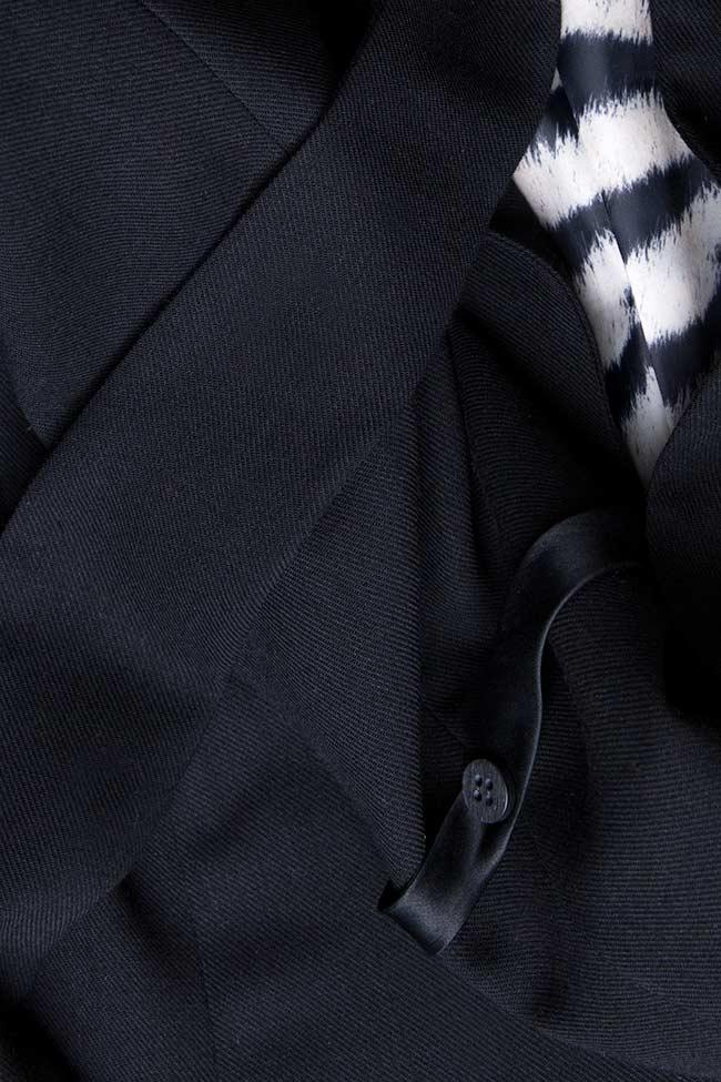 Sacou din stofa de lana cu cordon in talie Grigori Ciliani imagine 3