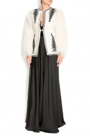 Dorin Negrau Embroidered wool blazer with faux fur