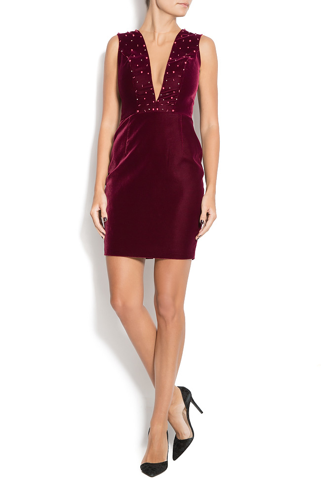ANNIKA velvet mini dress with pearl applications M Marquise image 0
