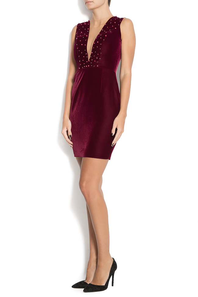 ANNIKA velvet mini dress with pearl applications M Marquise image 1