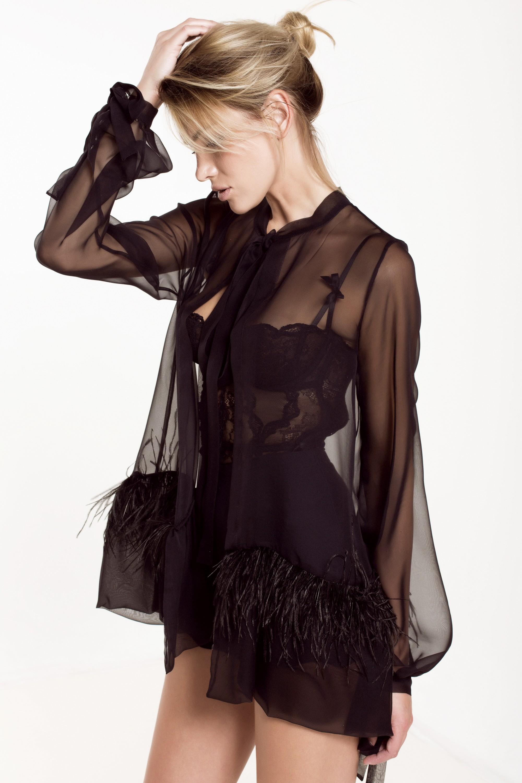 Ostrich feathers silk-chiffon blouse Aureliana image 4