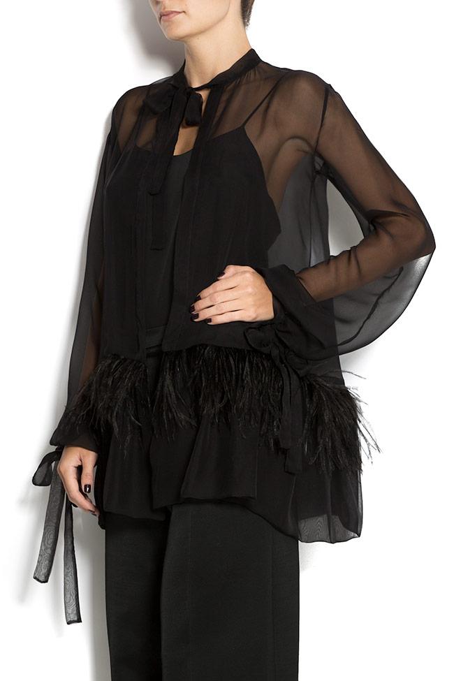 Ostrich feathers silk-chiffon blouse Aureliana image 1