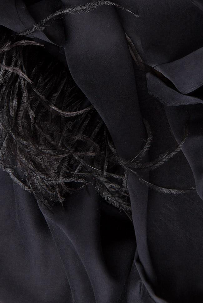 Ostrich feathers silk-chiffon blouse Aureliana image 3