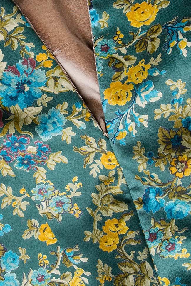 Top din matase imprimat cu detalii florale Oana Manolescu imagine 3