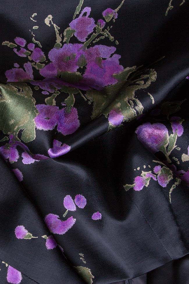Top din satin din matase cu imprimeu floral Oana Manolescu imagine 3