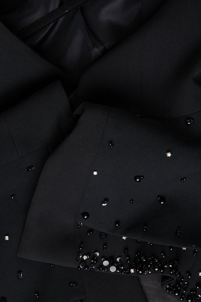 Sacou din crep cu peplum si aplicatii din cristal brodate manual CRUZ M Marquise imagine 3