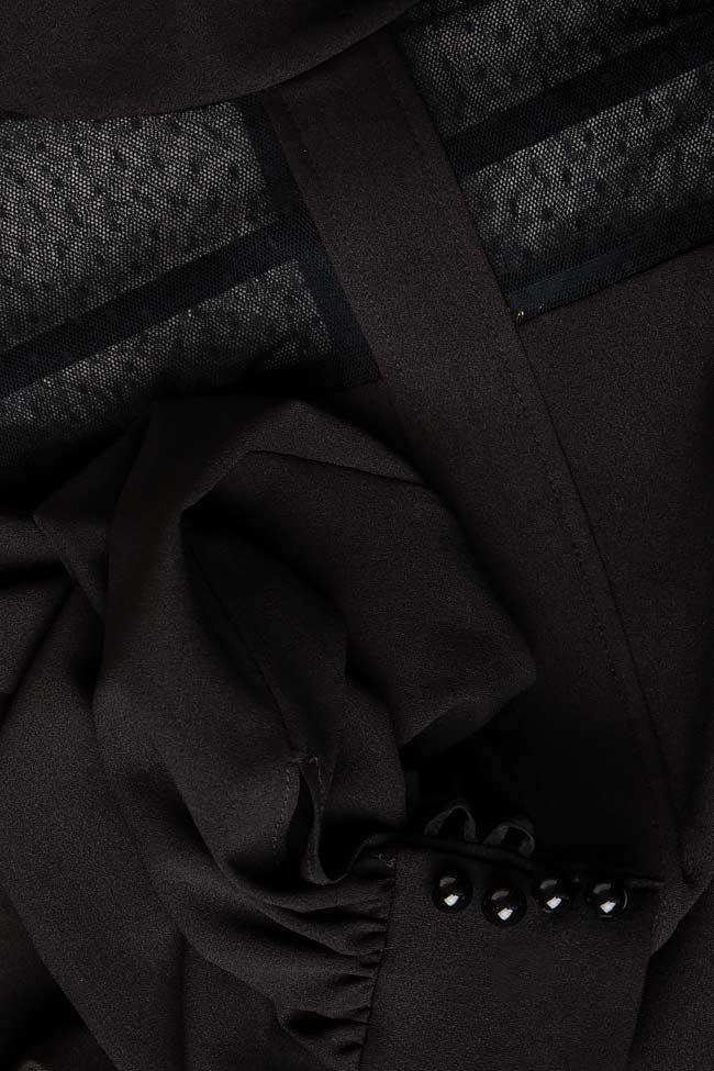 Bluza din crep si organza cu buline si maneci clopot CAMELIA M Marquise imagine 3