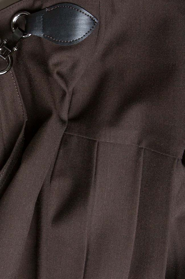 Fusta mini din stofa din lana Arina Varga imagine 3