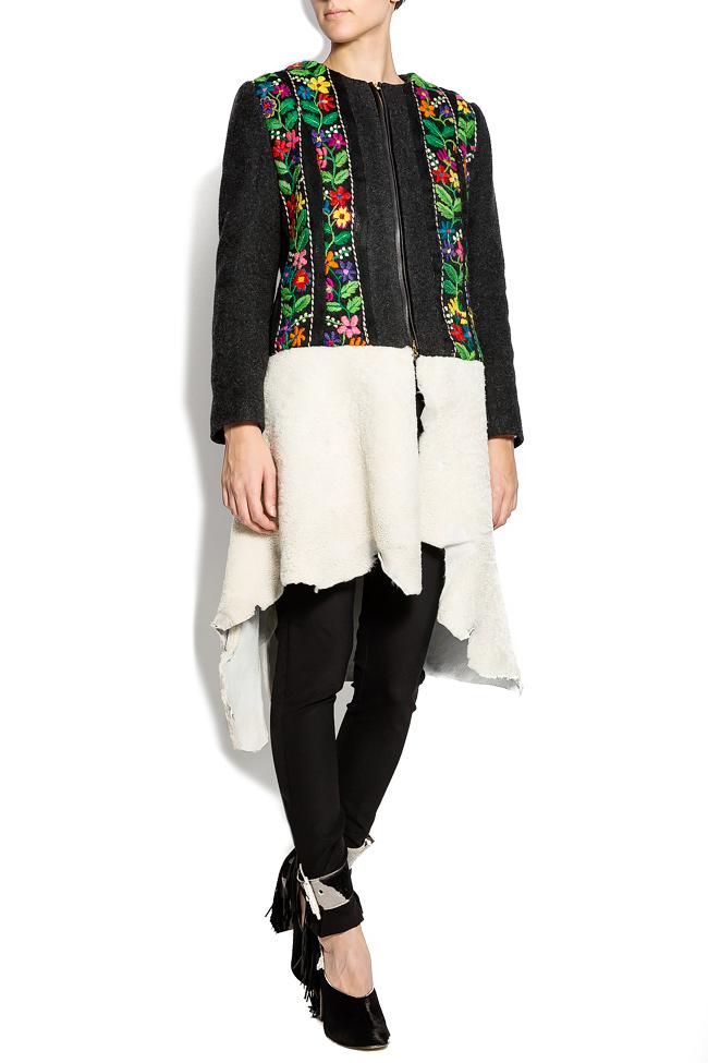 Embroidered wool coat with fur insertion Izabela Mandoiu image 0