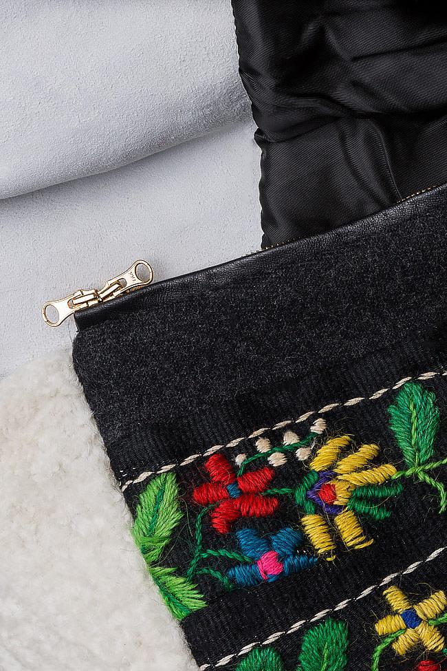 Embroidered wool coat with fur insertion Izabela Mandoiu image 4