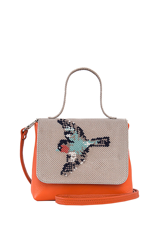 Hand-embroidered leather shoulder bag Laura Olaru image 0