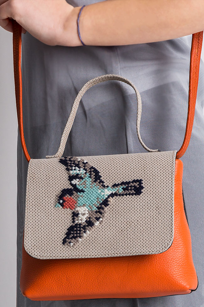 Hand-embroidered leather shoulder bag Laura Olaru image 4