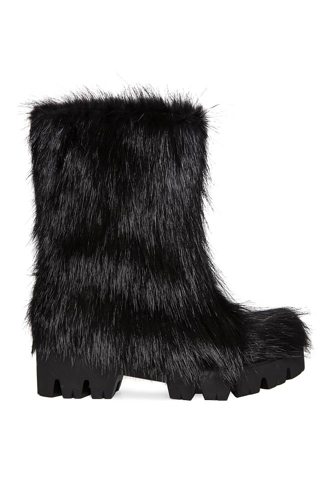 Coypu fur and leather ankle boots Mihaela Gheorghe image 0