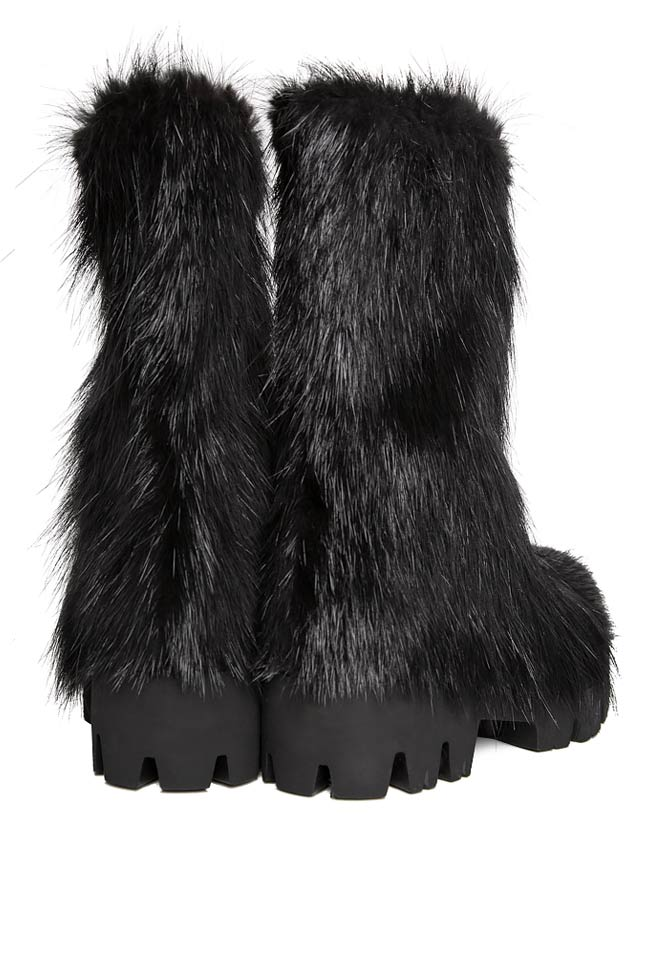 Coypu fur and leather ankle boots Mihaela Gheorghe image 2